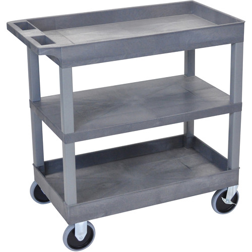 Luxor EC121HD-G 18 x 32 Cart (2 Tubs, 1 Flat Shelf, HD Casters, Grey)