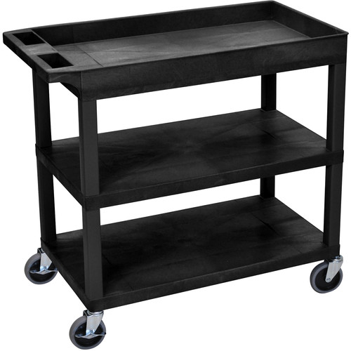 Luxor EC122-B 18 x 35 Cart (Tub, 2-Shelf, Black)