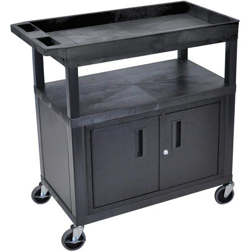 "Luxor EC122C-B 32 x 18"" 3-Shelf Utility Cart with Cabinet"