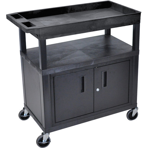 "Luxor EC122CE-B 32 x 18"" 3-Shelf Utility Cart with Cabinet and 15' Electrical Cord"