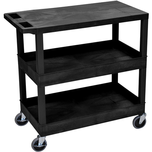 "Luxor EC211-B 18x32"" Utility Cart with 1 Flat and 2 Tub Shelves (Black)"