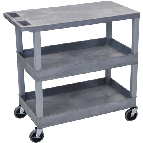 "Luxor EC211-G 18x32"" Utility Cart with 1 Flat and 2 Tub Shelves (Gray)"