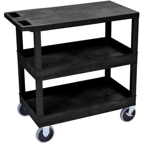 "Luxor EC211HD-B 18x32"" Heavy Duty Utility Cart with 1 Flat and 2 Tub Shelves (Black)"
