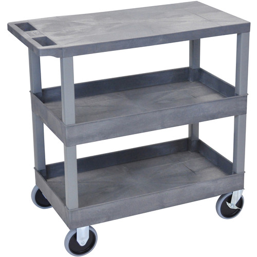 "Luxor EC211HD-G 18x32"" Heavy Duty Utility Cart with 1 Flat and 2 Tub Shelves (Gray)"