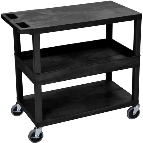 "Luxor EC212-B 18x32"" Utility Cart with 1 Tub and 2 Flat Shelves (Black)"