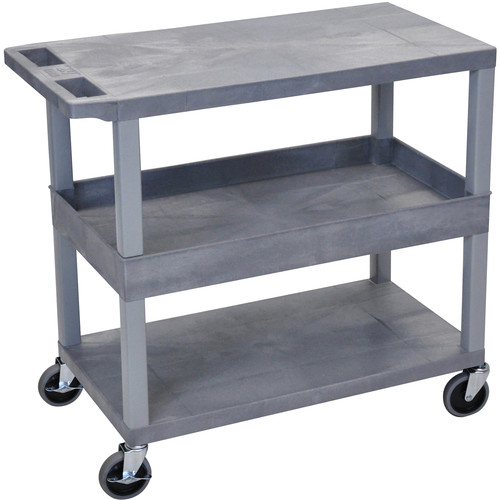 "Luxor EC212-G 18x32"" Utility Cart with 1 Tub and 2 Flat Shelves (Gray)"