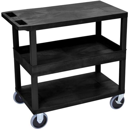 "Luxor EC212HD-B 18x32"" Heavy Duty Utility Cart with 1 Tub and 2 Flat Shelves (Black)"