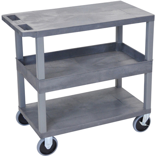 """Luxor EC212HD-G 18x32"""" Heavy Duty Utility Cart with 1 Tub and 2 Flat Shelves (Gray)"""