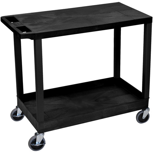 "Luxor EC21-B 18x32"" Utility Cart with 1 Flat and 1 Tub Shelves (Black)"