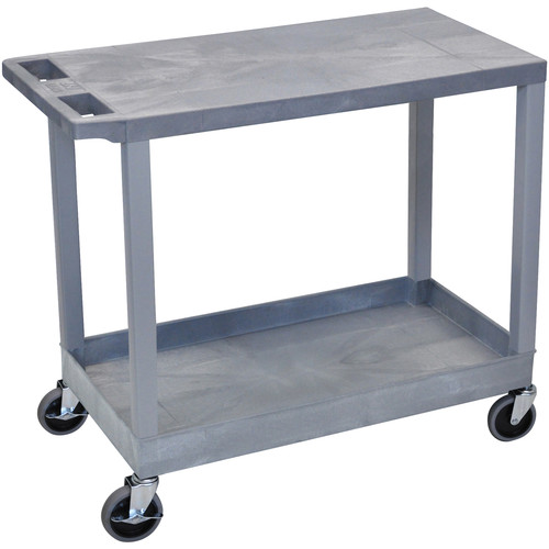 """Luxor EC21-G 18x32"""" Utility Cart with 1 Flat and 1 Tub Shelves (Gray)"""
