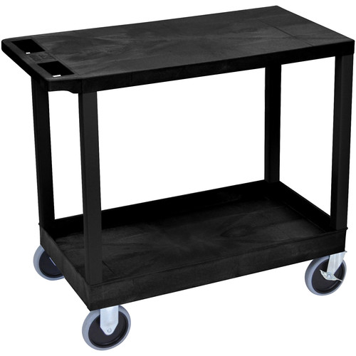 "Luxor EC21HD-B 18x32"" Heavy Duty Utility Cart with 1 Flat and 1 Tub Shelves (Black)"