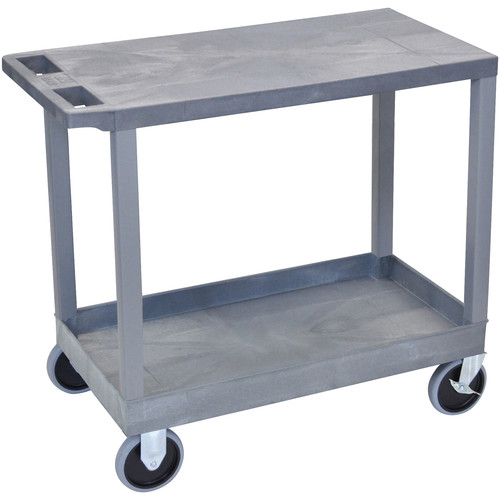 "Luxor EC21HD-G 18x32"" Heavy Duty Utility Cart with 1 Flat and 1 Tub Shelves (Gray)"