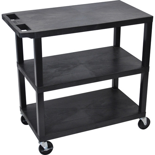 "Luxor EC222-B 18 x 32"" Three-Shelf Plastic Utility Cart (Black)"