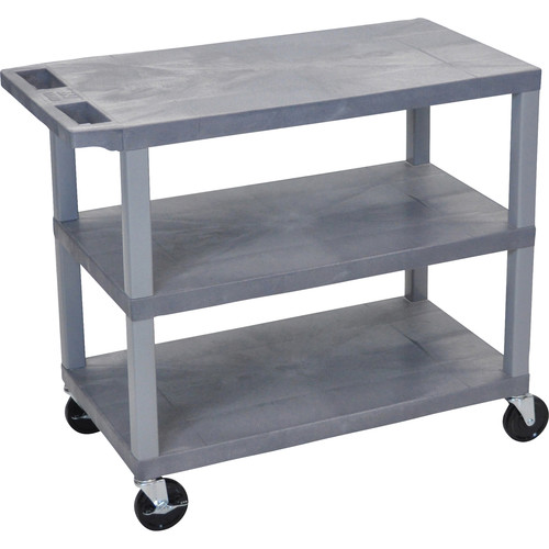 "Luxor EC222-G 18 x 32"" Three-Shelf Plastic Utility Cart (Gray)"