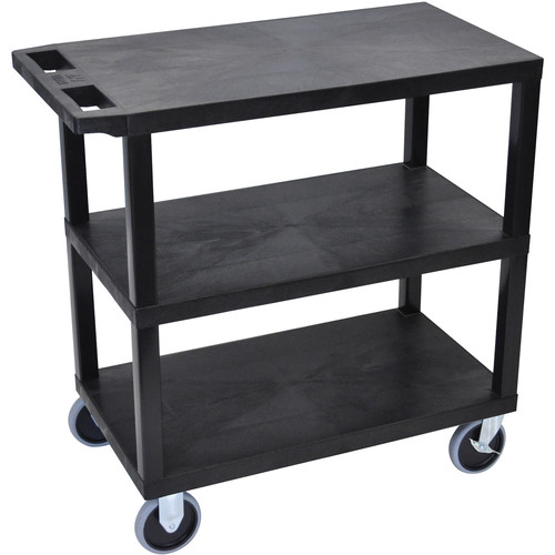 "Luxor EC222HD-B 18 x 32"" Three-Shelf Plastic Heavy Duty Utility Cart (Black)"