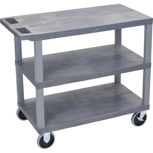 """Luxor EC222HD-G 18 x 32"""" Three-Shelf Plastic Heavy Duty Utility Cart (Gray)"""