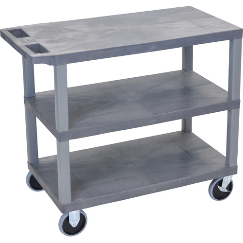 "Luxor EC222HD-G 18 x 32"" Three-Shelf Plastic Heavy Duty Utility Cart (Gray)"