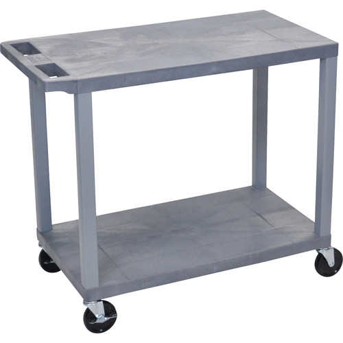 "Luxor EC22-G 32 x 18"" Two-Shelf Plastic Utility Cart (Gray)"