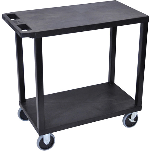 "Luxor EC22HD-B 32 x 18"" Two-Shelf Plastic Heavy Duty Utility Cart (Black)"