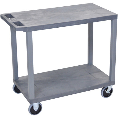 "Luxor EC22HD-G 18 x 32"" Two-Shelf Plastic Heavy Duty Utility Cart (Gray)"