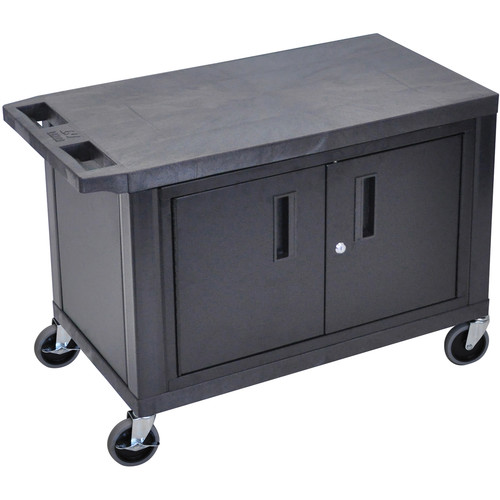 """Luxor EC25C-B 18 x 32"""" Utility Cart with 2 Shelves and 1 Cabinet (Black)"""