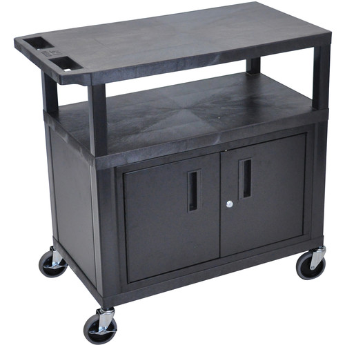 "Luxor EC34C-B 18 x 32"" Utility Cart with 3 Shelves and 1 Cabinet (Black)"