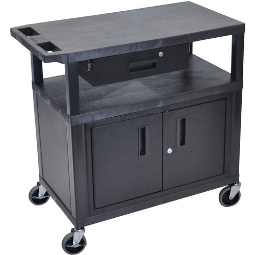 "Luxor EC34CD-B 18 x 32"" Utility Cart with 2 Flat Shelves, Drawer, and Cabinet"