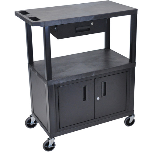 "Luxor EC38CD-B 18 x 32"" Utility Cart with 2 Flat Shelves, Drawer, and Cabinet"