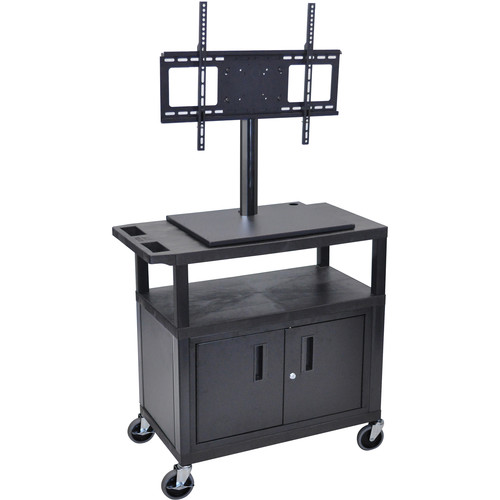 Luxor ET34CE-B Mobile Cart with Universal LCD TV Mount, Cabinet and Shelf