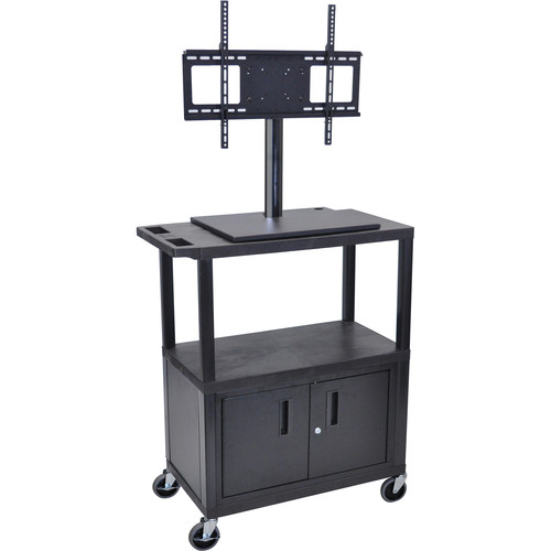 Luxor ET38CE-B Mobile Cart with Universal LCD TV Mount, Cabinet and Shelf
