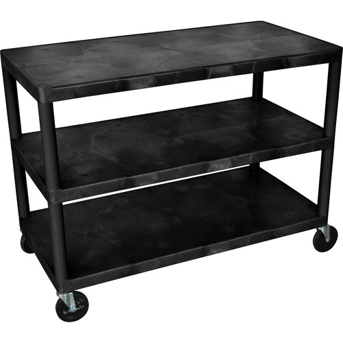 Luxor Industrial Three-Shelf Cart (Black)
