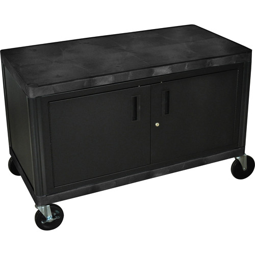 Luxor HEW385C Industrial Storage Cart with Cabinet (Black)