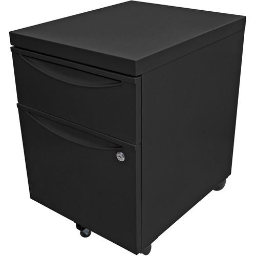 Luxor Mobile Pedestal File Cabinet with Locking Drawer (Black)