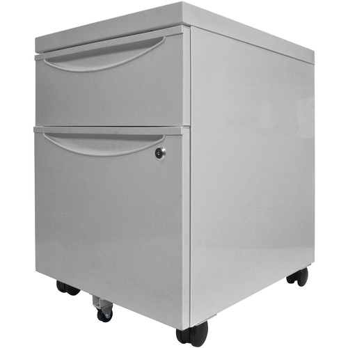 Luxor Mobile Pedestal File Cabinet with Locking Drawer (Gray)