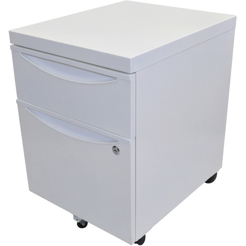 Luxor Mobile Pedestal File Cabinet with Locking Drawer (White)