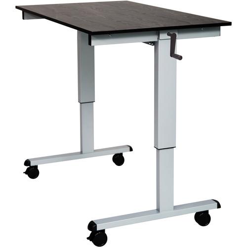 """Luxor 48"""" Crank Adjustable Stand-Up Desk (Black Oak Desk, Silver Frame)"""