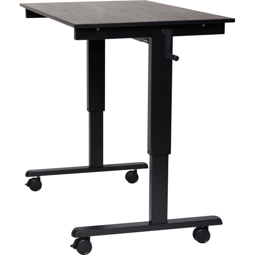 "Luxor 48"" Crank Adjustable Stand-Up Desk (Black Oak Desk, Black Frame)"