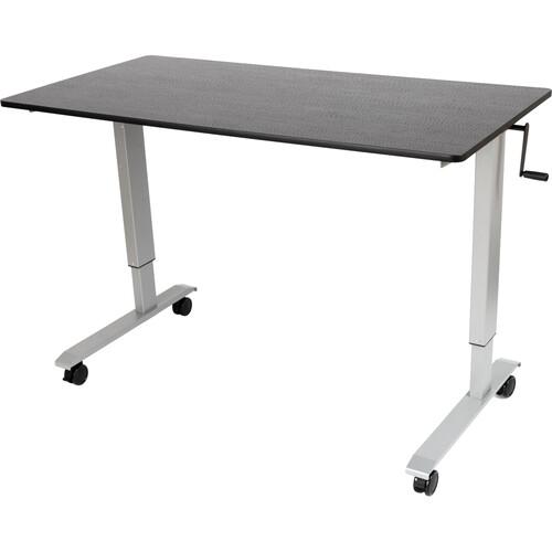 """Luxor 60"""" Crank Adjustable Stand-Up Desk (Black Oak Desk, Silver Frame)"""