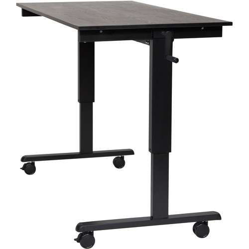 "Luxor 60"" Crank Adjustable Stand-Up Desk (Black Oak Desk, Black Frame)"