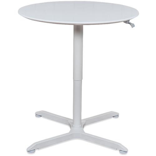 """Luxor Pneumatic Height-Adjustable Round Café Table (36"""", White)"""