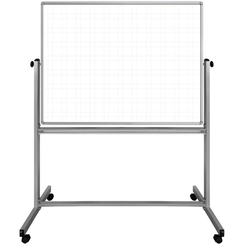 """Luxor 48 x 36"""" Mobile Magnetic Double-Sided Ghost Grid Whiteboard"""