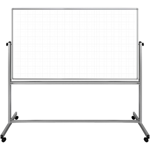 """Luxor 72 x 40"""" Mobile Magnetic Double-Sided Ghost Grid Whiteboard"""