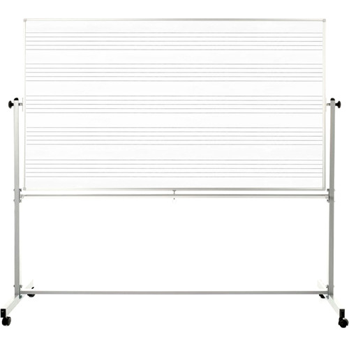 """Luxor 72 x 48"""" Mobile Double-Sided Magnetic Music Whiteboard"""