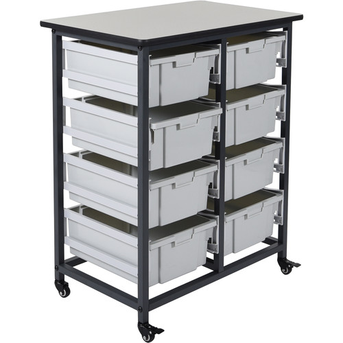 Luxor Double Row Mobile Bin System with Eight Large Bins