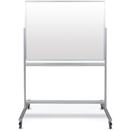 """Luxor Double-Sided Mobile Magnetic Glass Marker Board (46.5 x 38.25"""")"""