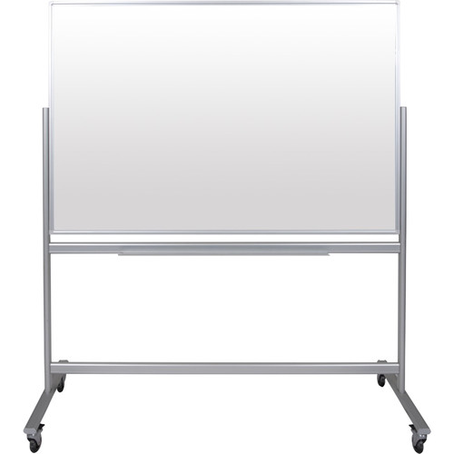 """Luxor Double-Sided Mobile Magnetic Glass Marker Board (58.5 x 38.25"""")"""