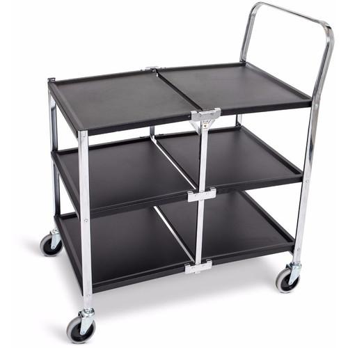 Luxor Three-Shelf Collapsible Metal Utility Cart