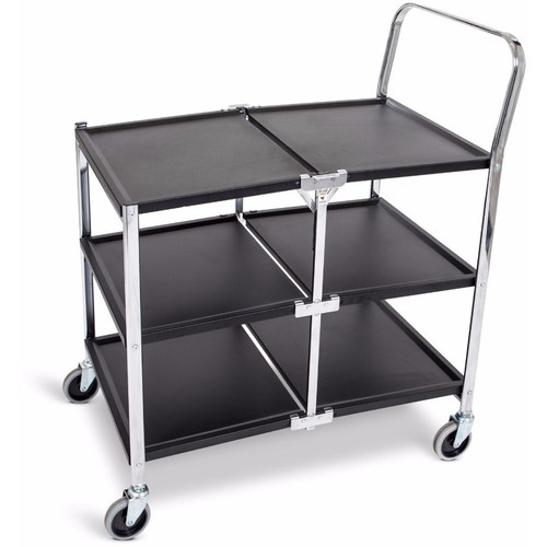 Luxor Three-Shelf Collapsible Metal Utility Cart