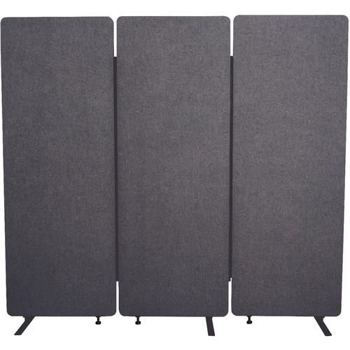 Luxor Reclaim Acoustic Room Dividers - 3 Pack In Slate Gray
