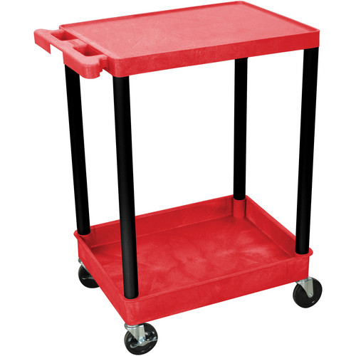 Luxor RDSTC21BK Red Utility Tub Cart with Black Legs